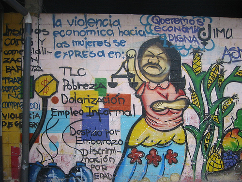 Mural in favor of the economic justice for women in San Marcos, El Salvador.