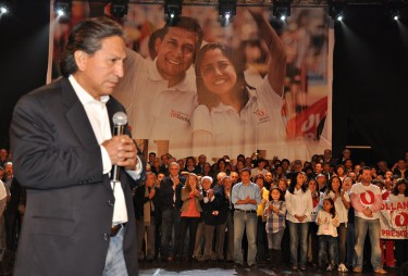Former President Alejandro Toledo present at the closing campaign rally of Ollanta Humala. Photo: courtesy of Gana Peru Press.