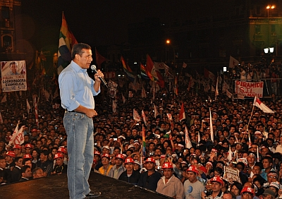 Humala addresses his constituents in the Dos De Mayo Plaza, Lima.  Photo: Courtesy of Gana Perú Press.