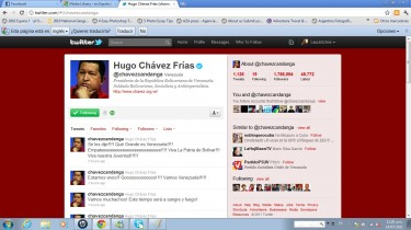 Screenshot of President Chavez's Twitter account.