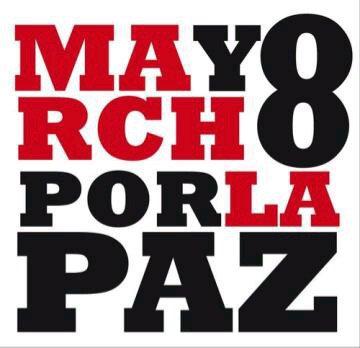 في 8 آذار - مارس أسيرمن أجل السلام. التصميم لإنديرا كورنيليو منشور بإذنٍ من صاحبته.