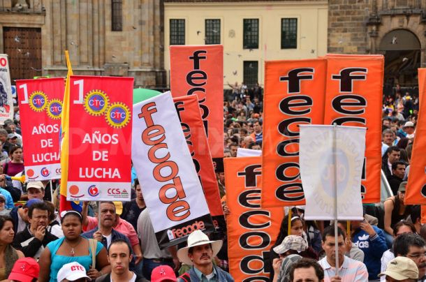 Public worker's demonstrations in Bogota. Image by Luis Gómez, copyright Demotix (7/10/2011).
