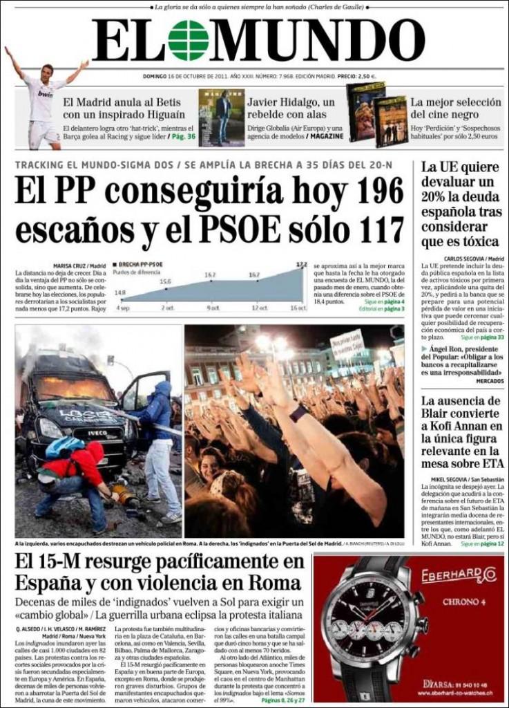 Vedi la prima pagina del giornale spagnolo El Mundo