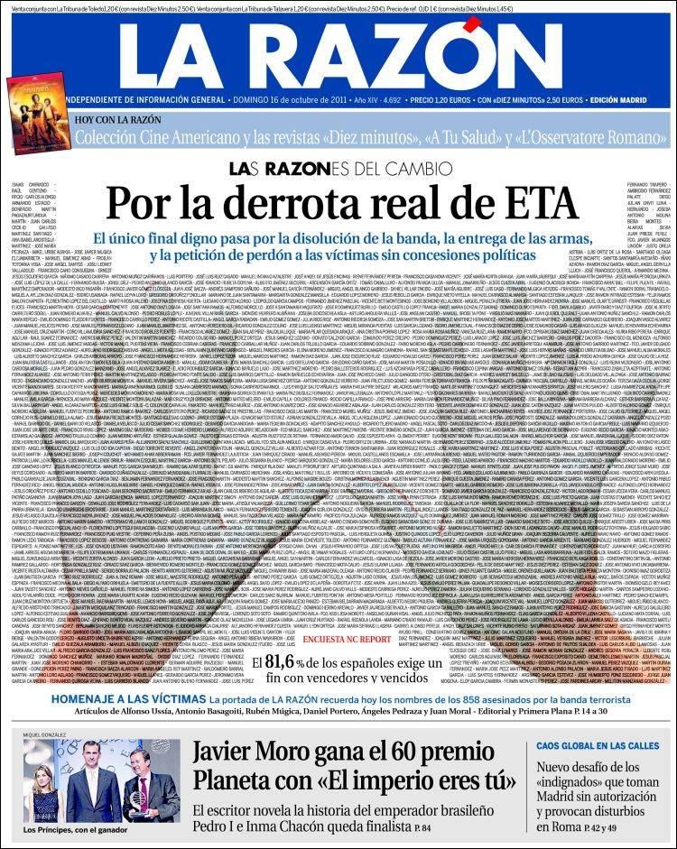 Prima pagina del giornale spagnolo El Mundo