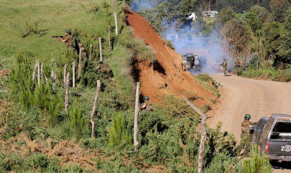 Police deployment in the Wente WinKul Mapu Lof Chequenco community in Ercilla.