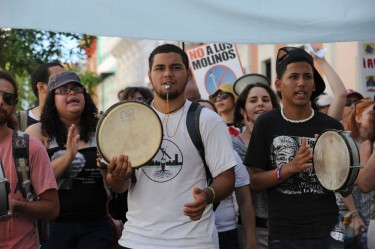 No Puerto Rican protest goes ahead without la plena, the favourite rythmic drumbeat on demonstrations.