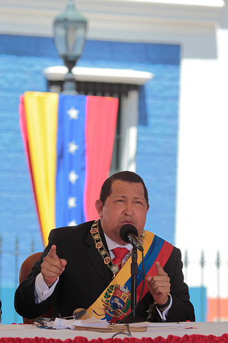 President Hugo Chávez from Angostura, in Bolívar. Photo from Flickr user chavezcandanga, 15th  February, 2012 (CC BY-NC-SA 2.0)