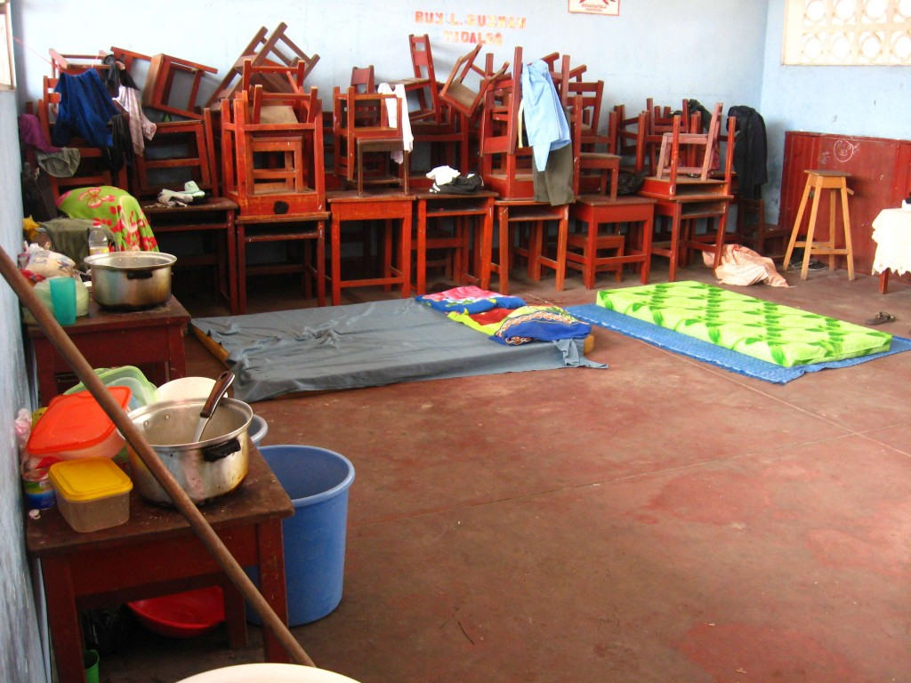 Classroom converted into a temporary shelter for victims.