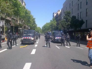 Polícia de choque em Barcelona