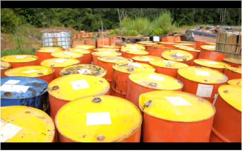 Chemical waste dump, Capahuari Sur oil reserve, Pastaza river valley. Photo: courtesy of FECONACO