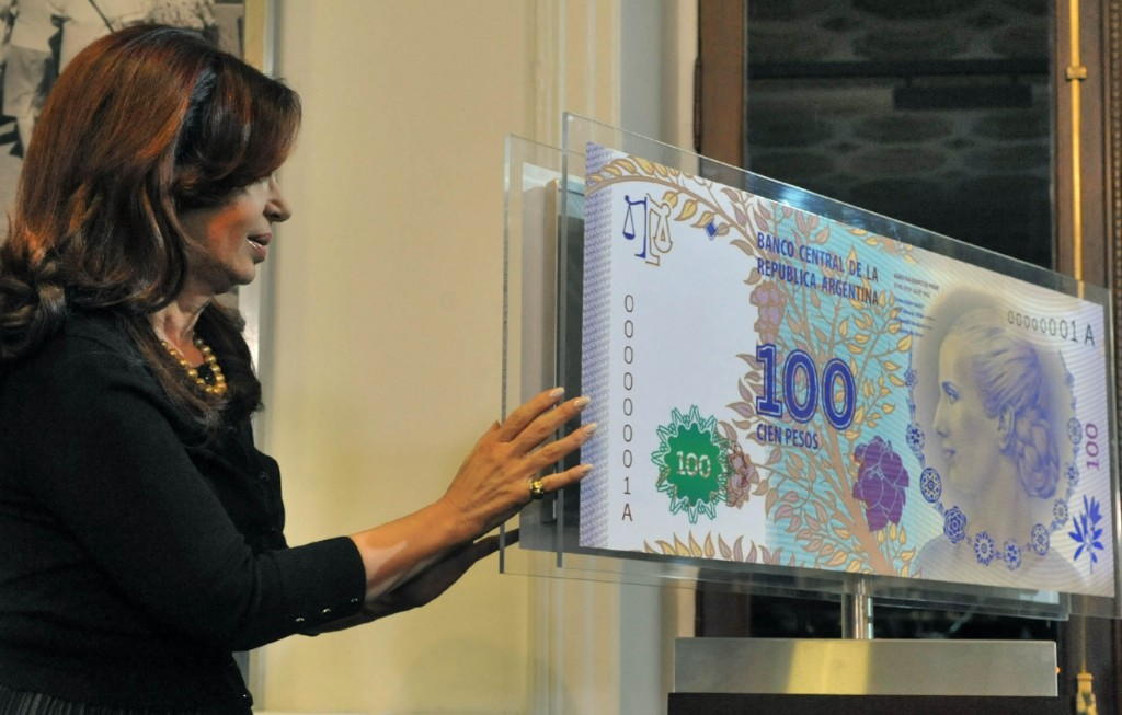 Presentation of the 100 peso bill as a tribute to Eva Peron.  Image by Casa Rosada, used under Creative Commons license CC-BY-SA