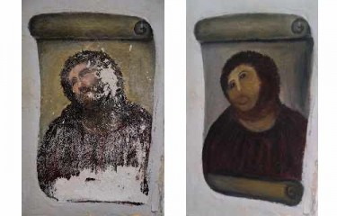 Ecce Homo: before and after. Pictures by Centro de Estudios Borjanos blog