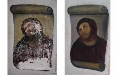 Ecce Homo: before and after. Pictures by Centro de Estudios Borjanos blog