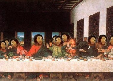 The Last Supper by Leonardo Da Vinci, Ecce Mono version. This is a meme that circulated throughout the Internet.