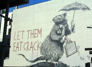 """Let them eat crack"" reads this graffiti in New York. Image by Flickr user Omiso."