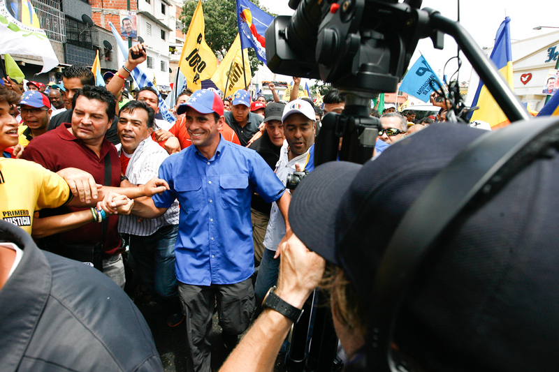 Henrique Capriles Radonski in Caracas during his presidential campaign.