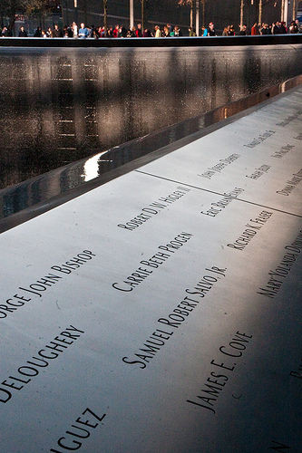 Monument commemorating the victims of September 11, 2001. Image from Flickr user happyskrappy, under Creative Commons licence (CC BY 2.0)