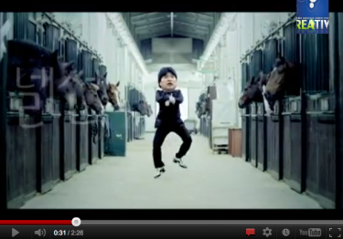 "Screen shot of the video ""Evo Morales dancing Gangnam Style"" (October 2012). Video by kwonbanya on YouTube"