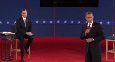 Obama y Romney en el segundo debate presidencial. Foto tomada de vídeo del debate en YouTube.