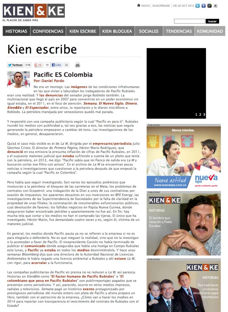 Columna Daniel Pardo en Kien&Ke