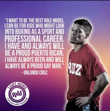 Cartel con cita de Orlando Cruz afirmando su orgullo de ser un hombre gay y boxeador. Foto tomada de su cuenta de Facebook.