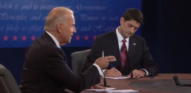 Joe Biden and Paul Ryan. Photo taken from the video of the debate on YouTube.