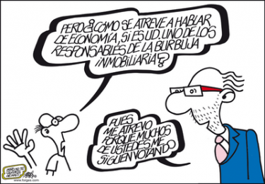 Cristóbal Montoro, Minister of Finance, by Forges. Image from the blog of Izquierda Unida-Almuñécar