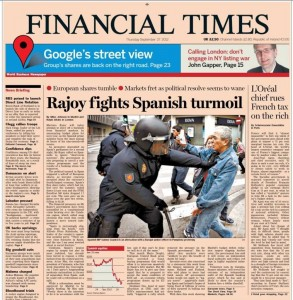 Front page of the Financial Times on September 27th. Image from the Facebook page «Asamblea virtual»