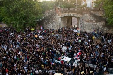 Protesta contra la Reforma Fiscal en Santo Domingo.