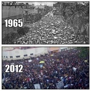 Comparación entre protestas en 1965 y 2012.