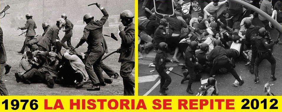Os «cinzentos» de 1976 e a polícia de choque do séc. XXI. Fotografia da página «AntenapezTV» do Facebook