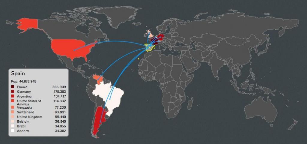 Mapa de la emigración española del siglo XXI. Imagen del blog «Periodismo con Gafas»