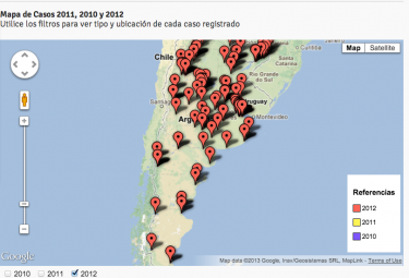 Mapa que registra las agresiones por provincia