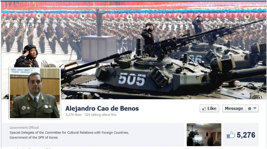 Screen grab of Alejandro Cao de Benós's Facebook page