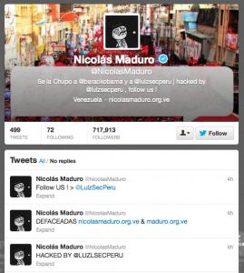 Cuenta de Nicolas Maduro hackeada