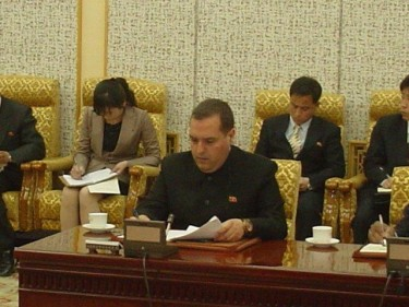 Alejandro Cao de Benós working in Pyongyang in 2011. Photograph taken from his Facebook page.