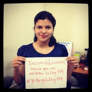 Foto de @AnabellZavala en apoyo a la Ley 779