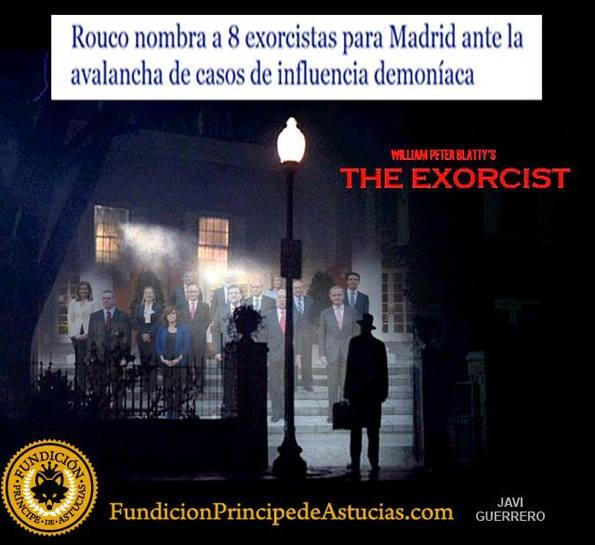 «The Exorcist» movie comes to Moncloa [official residence of the Spanish Prime Minister] to exorcise the government from Rajoy. Photo montage uploaded to Twitter by FelinoTigreton