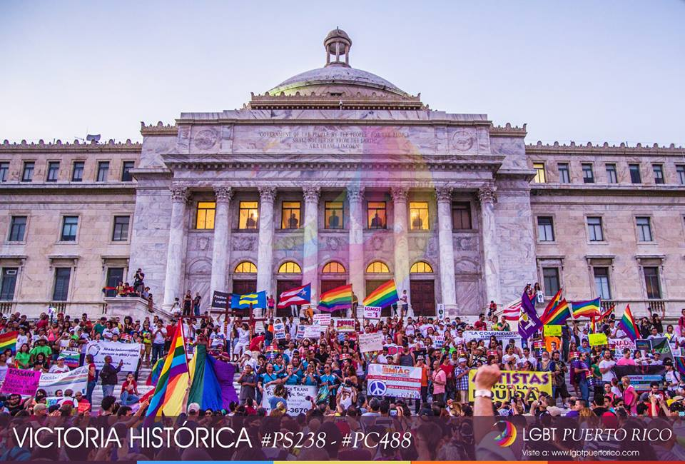 "Groups in favor of LGBTQ rights celebrate the passing of the measures in front of the Capitol building. Photo taken from <a href=""https://www.facebook.com/photo.php?fbid=349589555162990&amp;set=a.334035140051765.1073741828.333428936779052&amp;type=1&amp;relevant_count=1"" target=""_blank"">LGBT Puerto Rico</a>'s Facebook page."