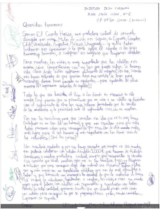 Carta de los niños de «El cuarto hocico» a las monjas de Iesu Communio. Captura de pantalla de su web.