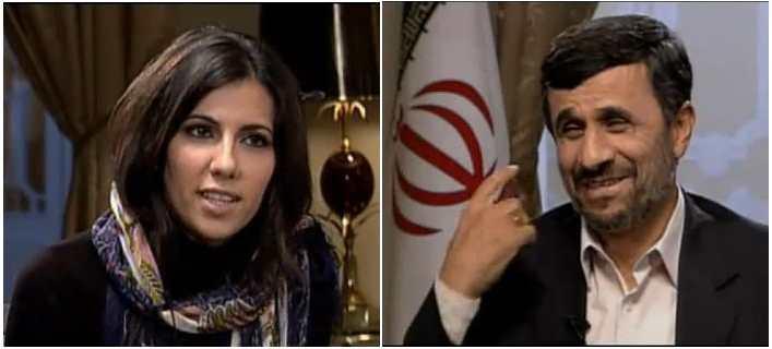 Mahmud Ahmadineyad advierte a Ana Pastor que se le ha caído el velo durante la entrevista. Captura tomada del vídeo de cartierchinoua en YouTube.
