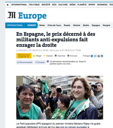 Captura de pantalla de Le Monde. Tuit de Carmela Ríos