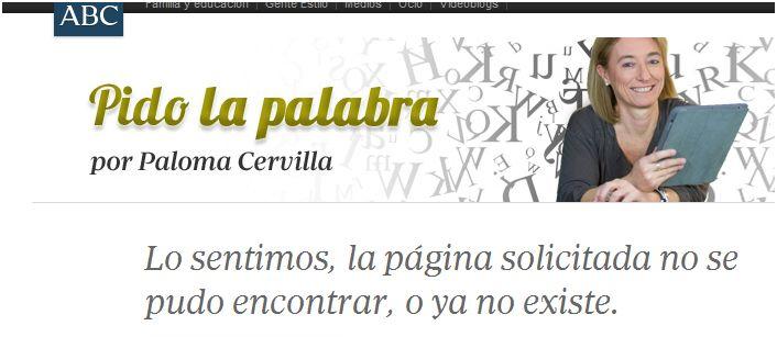 Captura de pantalla del blog de Paloma Cervilla, tras eliminarse el polémico artículo.