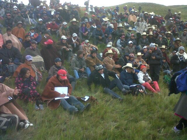 """""""En este lugar se instala el campamento de pobladores de Cajamarca, Bambamarca y Celendin. Conga No Va."""" Foto compartida por @MattaColun en Twitter."""