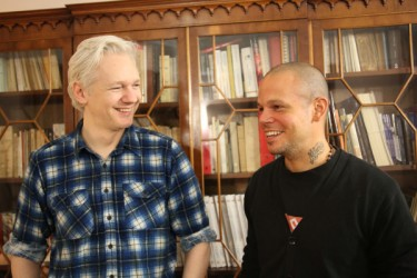 "ulian Assange and Calle 13 at the Embassy of Ecuador in London, where Assange is currently staying after asking the Ecuadorian government for asylum. Photo taken from Calle 13's official Twitter account <a href=""http://twitpic.com/cx0axs"" target=""_blank"">@Calle13Oficial</a>."