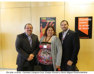 De izquierda a derecha: Carmelo Campos Cruz, Evelyn Román y Kevin Miguel Rivera Medina.