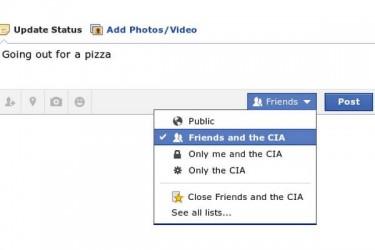 Montaje sobre las opciones de privacidad en Facebook. Imagen tuiteada por Kim Dotcom.