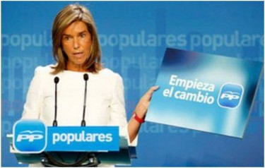 Ana Mato, Spanish minister of Health, responsible for the cuts in this area.  Photo from the Facebook page «Yo NO voté a Rajoy. Tengo la conciencia tranquila. ¿Y tú?» (I didn't vote for Rajoy.  I have a clean conscience.  You?)