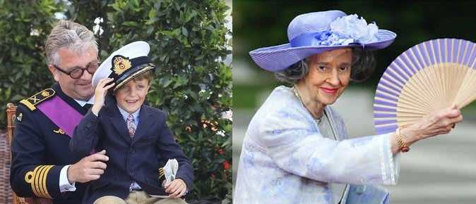 A la izquierda, el príncipe Lorenzo de Bélgica con su hijo. A la derecha, la reina viuda Fabiola.