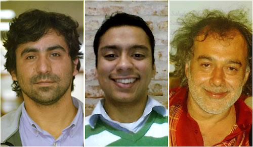 De izqda. a dcha., Juan Jose Peters, Pablo Loyola y Aníbal Vivaceta, creadores de Chile Movilizado